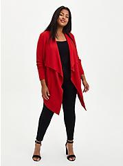 Red Ponte Drape Front Kimono, RED, alternate