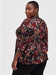 Black Floral Knit Babydoll Jacket, MULTI FORAL, alternate