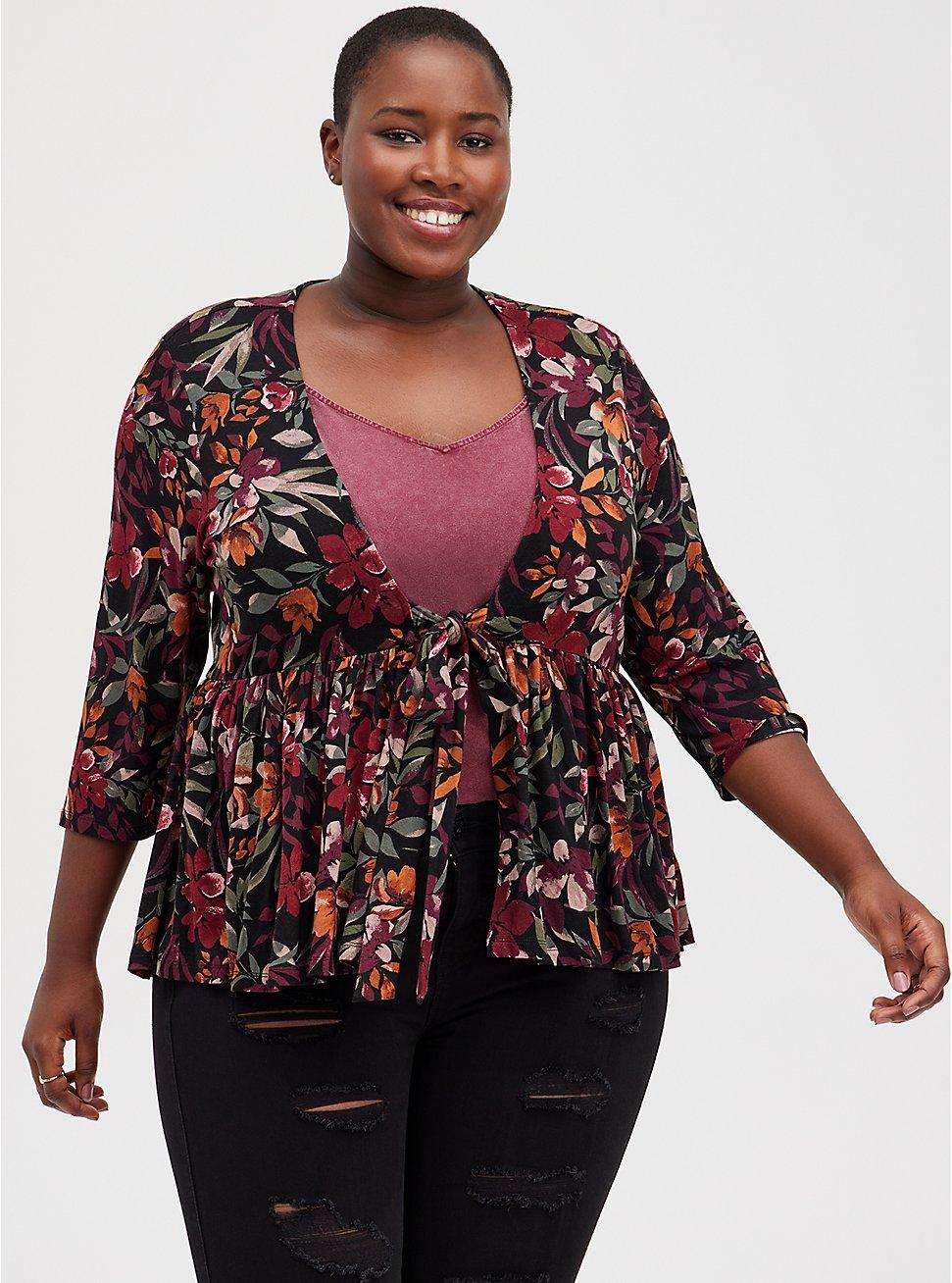 Black Floral Knit Babydoll Jacket, MULTI FORAL, hi-res