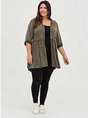 Olive Wash Challis Shirt Kimono, DUSTY OLIVE, alternate
