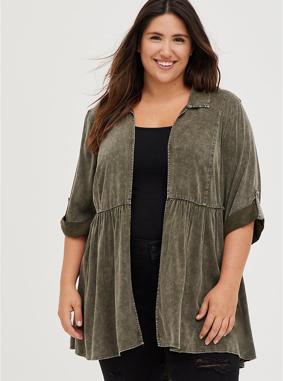 Olive Wash Challis Shirt Kimono, DUSTY OLIVE, hi-res