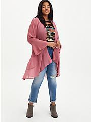 Plus Size Kimono - Crinkle Chiffon Rose, MESA ROSA, alternate
