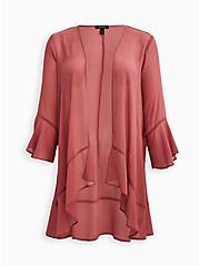 Plus Size Kimono - Crinkle Chiffon Rose, MESA ROSA, hi-res