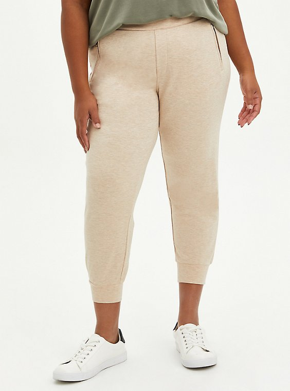 Relaxed Fit Jogger - Ponte Oatmeal , TAN/BEIGE, hi-res