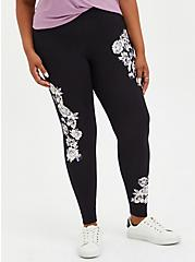 Premium Legging - Floral Black, BLACK, hi-res