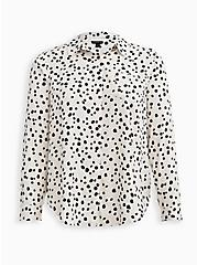 Plus Size Button Down Shirt - Twill Cheetah Dot White, DOT - WHITE, hi-res