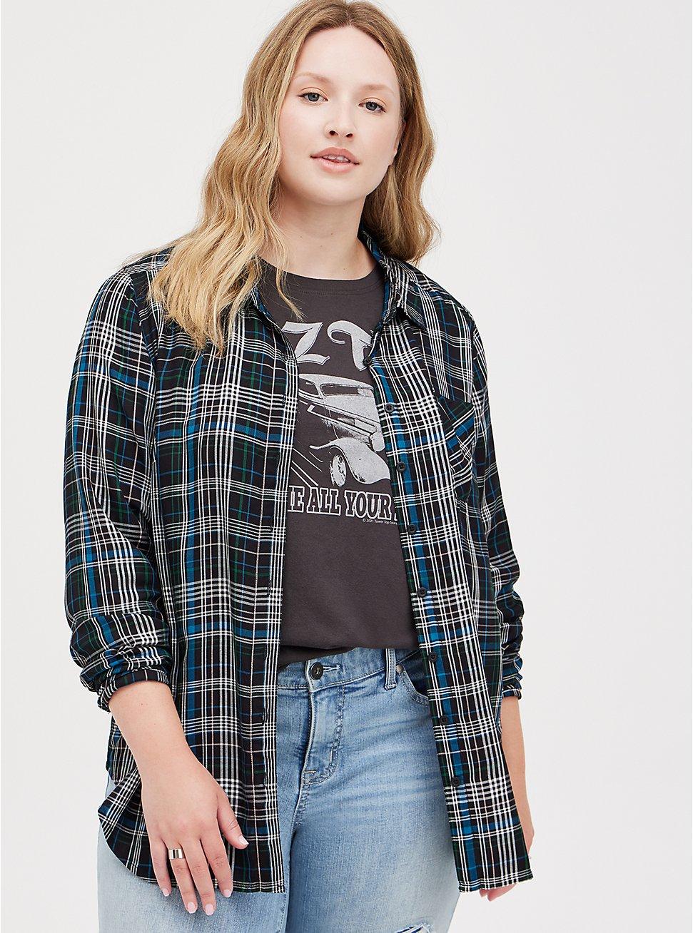 Button Down Shirt - Twill Plaid Black, PLAID - BLACK, hi-res
