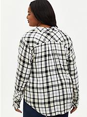 Button Down Shirt - Twill Plaid White, PLAID - IVORY, alternate