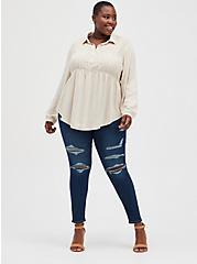 Lace Trim Babydoll Tunic - Textured Stretch Rayon Beige, BEIGE, alternate