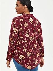 Lace Trim Babydoll Tunic - Textured Stretch Rayon Floral Purple, FLORAL - PURPLE, alternate