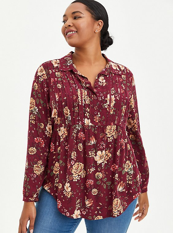 Lace Trim Babydoll Tunic - Textured Stretch Rayon Floral Purple, FLORAL - PURPLE, hi-res