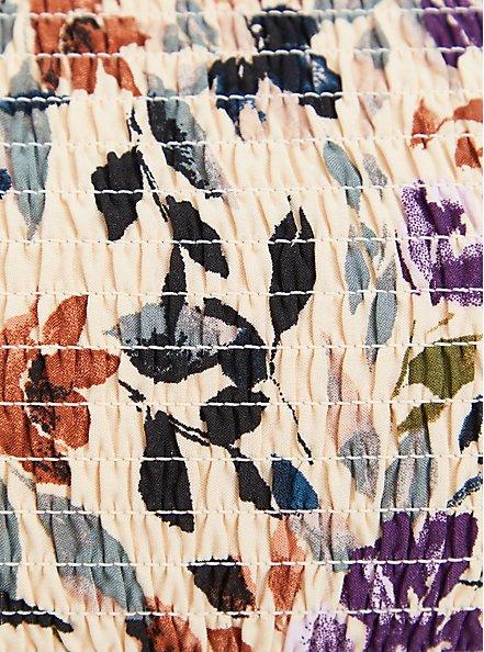 Cold Shoulder Blouse - Challis Floral Taupe, FLORAL - TAUPE, alternate