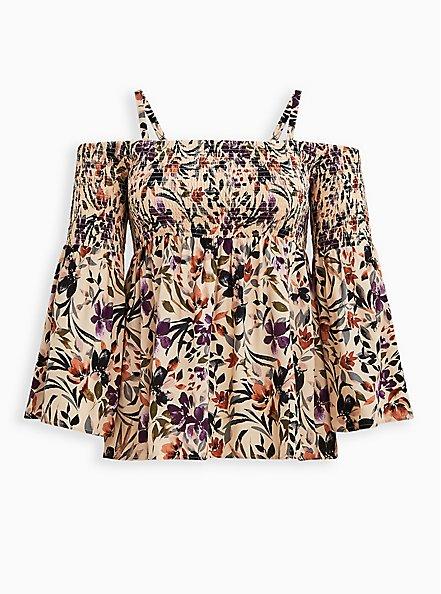 Cold Shoulder Blouse - Challis Floral Taupe, FLORAL - TAUPE, hi-res