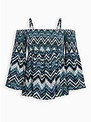 Cold Shoulder Blouse - Challis Chevron Tie-Dye Blue, TIE DYE-BLUE, hi-res