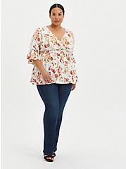 Plus Size Surplice Babydoll Top - Stretch Challis Floral White, FLORAL - IVORY, alternate