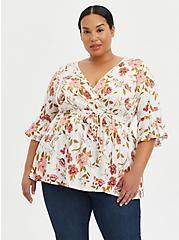 Plus Size Surplice Babydoll Top - Stretch Challis Floral White, FLORAL - IVORY, hi-res