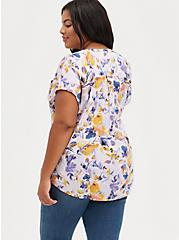 Dolman Blouse - Textured Stretch Rayon Floral Purple , FLORAL - PINK, alternate