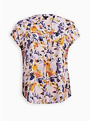 Dolman Blouse - Textured Stretch Rayon Floral Purple , FLORAL - PINK, hi-res