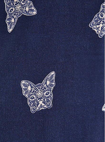 Dolman Blouse - Textured Stretch Rayon Dogs Navy, OTHER PRINTS, alternate