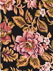 Strappy Peplum Top - Stretch Crepe Floral Black, FLORAL - BLACK, alternate
