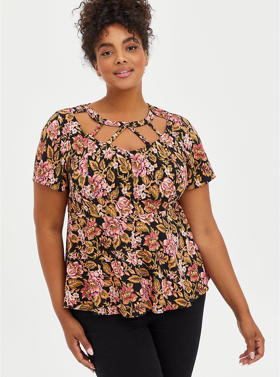 Strappy Peplum Top - Stretch Crepe Floral Black, FLORAL - BLACK, hi-res