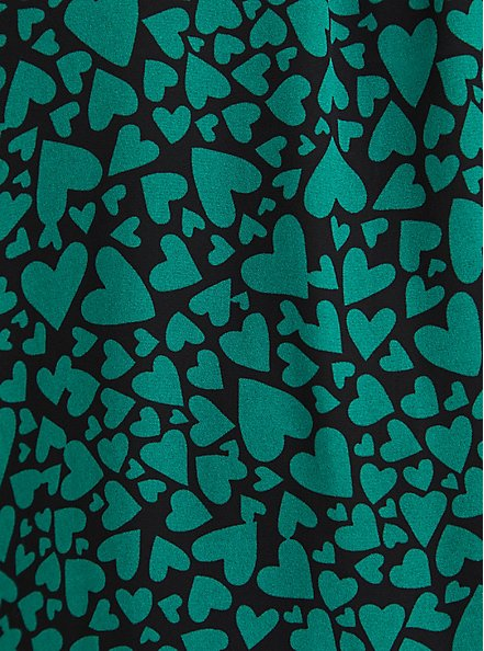 Plus Size High Neck Blouse - Georgette Hearts Green, OTHER PRINTS, alternate