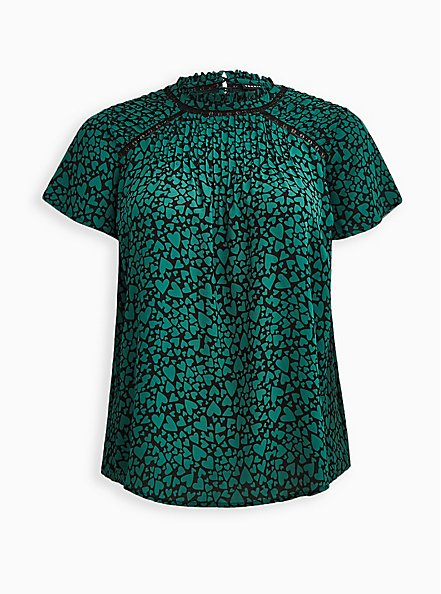 Plus Size High Neck Blouse - Georgette Hearts Green, OTHER PRINTS, hi-res