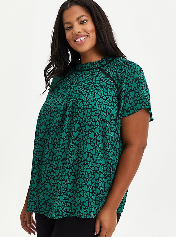 High Neck Blouse - Georgette Hearts Green, OTHER PRINTS, hi-res