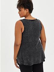 Fit & Flare Tank - Textured Stretch Rayon Mineral Wash Black, DEEP BLACK, alternate