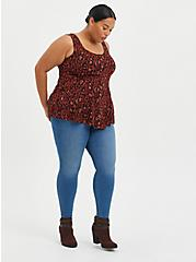 Fit & Flare Tank - Textured Stretch Rayon Leopard Red, LEOPARD - RED, alternate