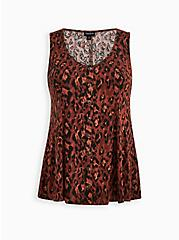 Fit & Flare Tank - Textured Stretch Rayon Leopard Red, LEOPARD - RED, hi-res