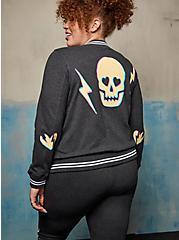 Relaxed Bomber Jacket - Everyday Fleece LoveSick Skull Bolt Charcoal Heather, CHARCOAL HEATHER, hi-res