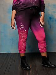 Plus Size Jogger - Dip Dye Embroidered LoveSick Rose Skull Barbwire Black & Pink, TIE DYE, hi-res