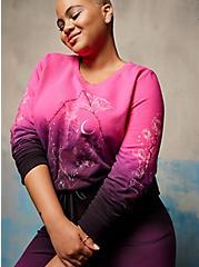 Embroidered Sweatshirt - LoveSick Rose Skull Barbwire Dip Dye Black & Pink, TIE DYE, alternate