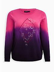 Embroidered Sweatshirt - LoveSick Rose Skull Barbwire Dip Dye Black & Pink, TIE DYE, hi-res