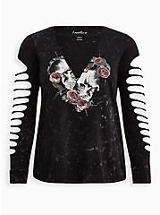 Slasher Tee - LoveSick Skull Roses Black, DEEP BLACK, hi-res