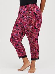 Lace Trim Sleep Crop Pant - Super Soft Pink, MULTI, alternate