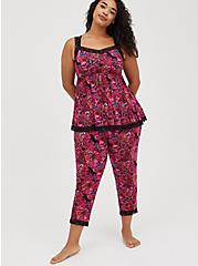 Lace Trim Sleep Crop Pant - Super Soft Pink, MULTI, hi-res