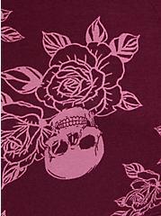 Sleep Legging - Super Soft Rib Rose Skull Burgundy, MULTI, alternate