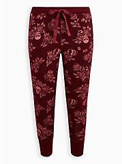 Sleep Legging - Super Soft Rib Rose Skull Burgundy, MULTI, hi-res