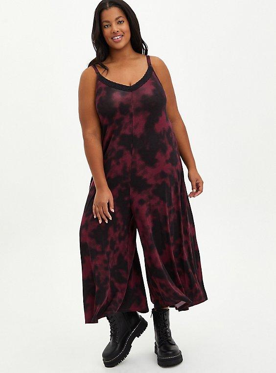Sleep Jumpsuit - Tie Dye Burgundy, MULTI, hi-res