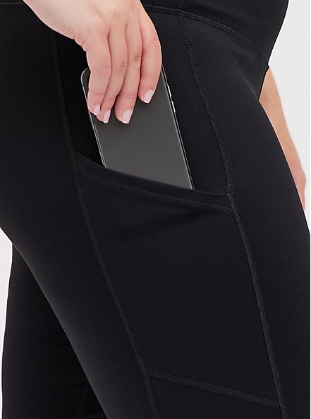 Knee Length Active Bike Shorts - Black, DEEP BLACK, alternate