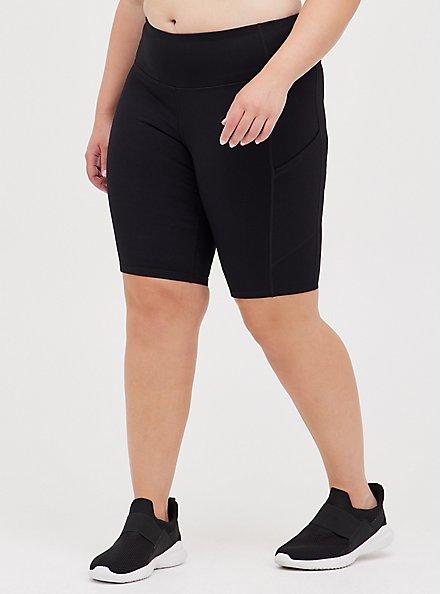 Knee Length Active Bike Shorts - Black, DEEP BLACK, hi-res