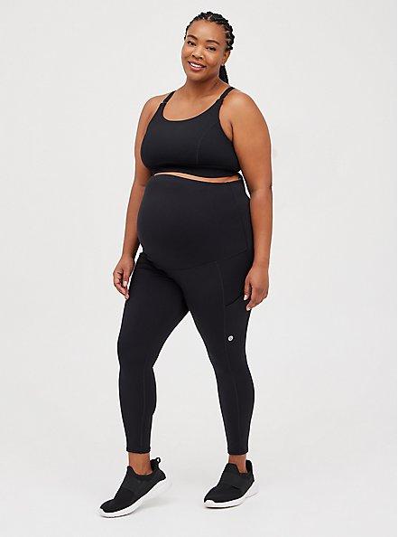 Plus Size Maternity Wicking Sports Bra - Active Jersey Black, DEEP BLACK, alternate
