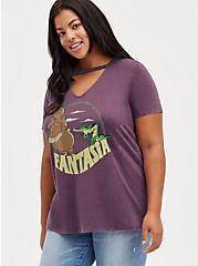 Plus Size V-Neck Choker Top - Triblend Jersey Disney Fantasia Dance Burgundy, BURGUNDY, hi-res