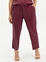Drawcord Trouser - Stretch Challis Burgundy Wash, BURGUNDY, hi-res