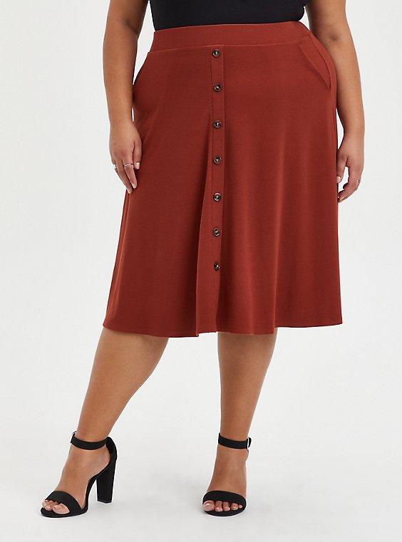 Midi Skirt - A-Line Rib Knit Brown, BRANDY BROWN, hi-res