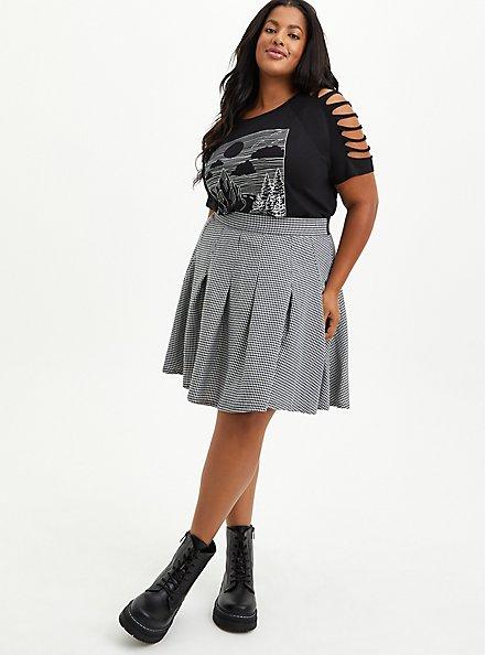 Skater Skirt - Pleated Twill Houndstooth Black & White , FUZZY HOUNDSTOOTH, alternate