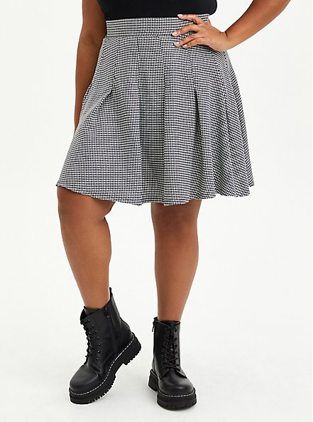 Skater Skirt - Pleated Twill Houndstooth Black & White , FUZZY HOUNDSTOOTH, hi-res