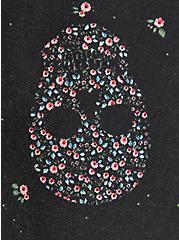 Skater Skirt - Pleated Twill Floral Skull Black, SKULLS FLORAL-BLACK, alternate